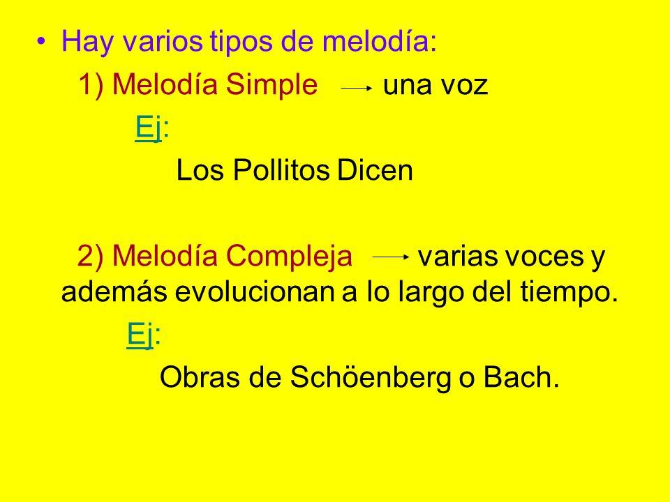 Hay varios tipos de melodía: 1) Melodía Simple una voz Ej: Los Pollitos Dicen 2) Melodía Compleja varias voces y además evolucionan a lo largo del tie