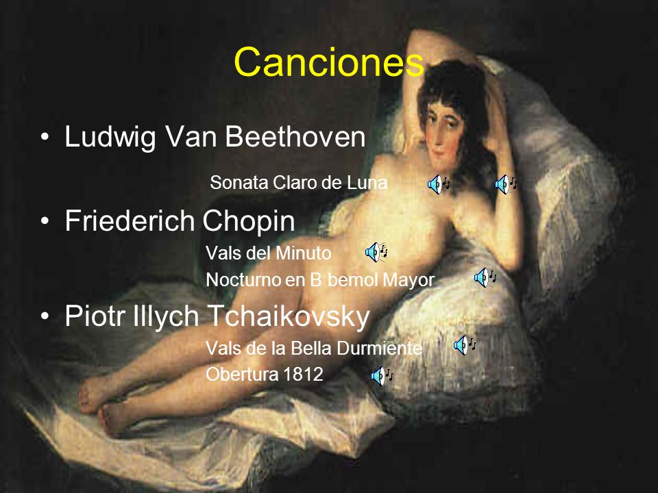 Canciones Ludwig Van Beethoven Sonata Claro de Luna Friederich Chopin Vals del Minuto Nocturno en B bemol Mayor Piotr Illych Tchaikovsky Vals de la Be