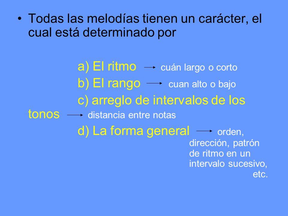 Todas las melodías tienen un carácter, el cual está determinado por a) El ritmo cuán largo o corto b) El rango cuan alto o bajo c) arreglo de interval