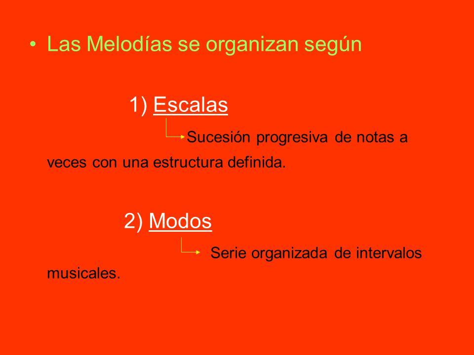 Las Melodías se organizan según 1) Escalas Sucesión progresiva de notas a veces con una estructura definida. 2) Modos Serie organizada de intervalos m