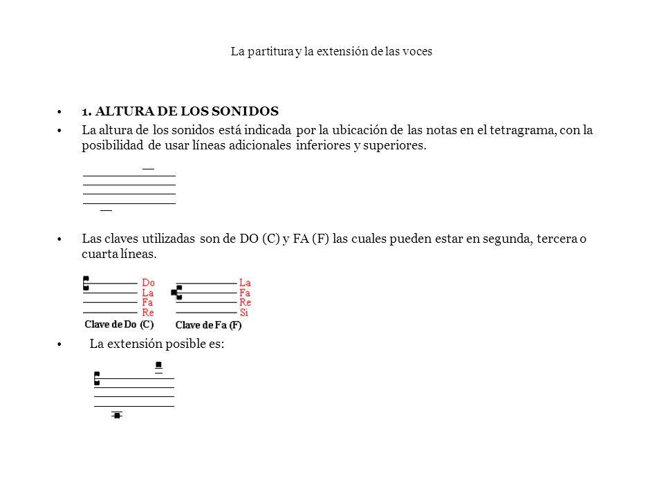 La partitura y la extensión de las voces 1. ALTURA DE LOS SONIDOS La altura de los sonidos está indicada por la ubicación de las notas en el tetragram