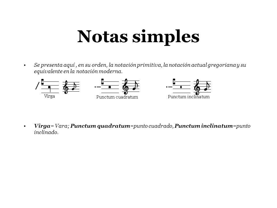 Notas simples Se presenta aquí, en su orden, la notación primitiva, la notación actual gregoriana y su equivalente en la notación moderna. Virga= Vara