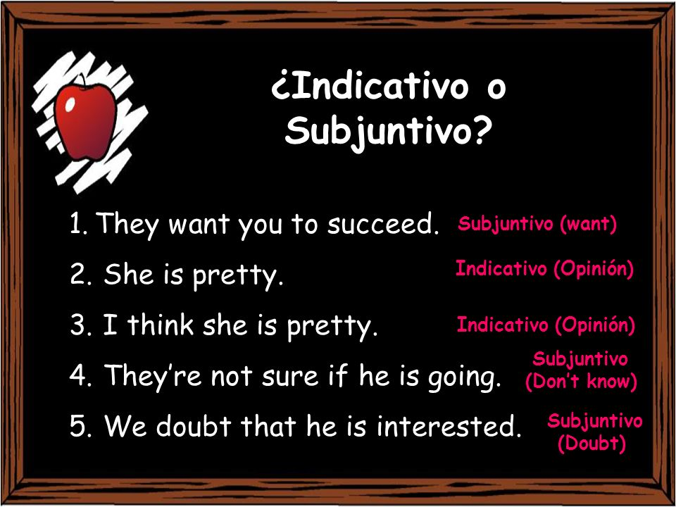 ¿Indicativo o Subjuntivo? 1.They want you to succeed. 2. She is pretty. 3. I think she is pretty. 4. Theyre not sure if he is going. 5. We doubt that