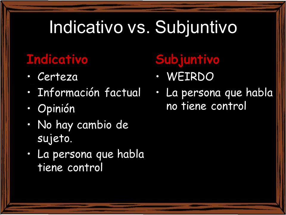Subjuntivo WEIRDO La persona que habla no tiene control Indicativo Certeza Información factual Opinión No hay cambio de sujeto. La persona que habla t