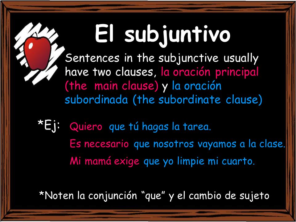 WEIRDO The subjunctive is used to express a: Wish, want, command Emotion Impersonal expression Recommendation Doubt, denial, disbelief Ojalá