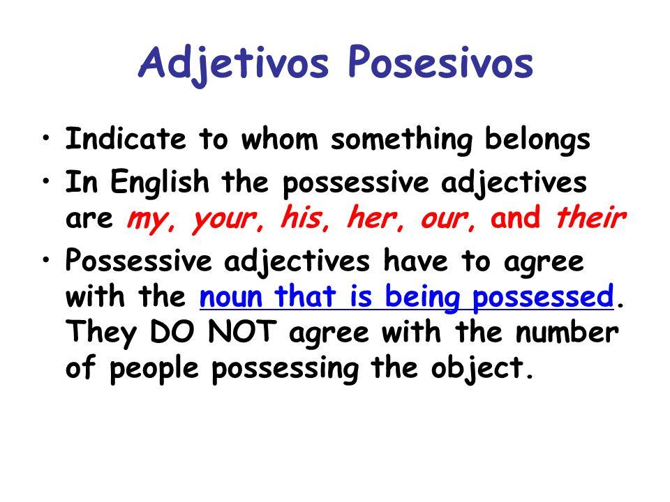 Las formas Adjetivos PosesivosItems Owned OneTwo or More Owner(s) YoMi (my) mis Tútu (your/infomal) tus Él/Ella/Ud.su his,her,its,your (form.) sus Nosotrosnuestro nuestra (our) nuestros nuestras Vosotrosvuestro vuestra (your) vuestros vuestras Ellos/Ellas/Uds.su their,your sus * NUESTRO AND VUESTRO AGREE IN BOTH NUMBER AND GENDER!
