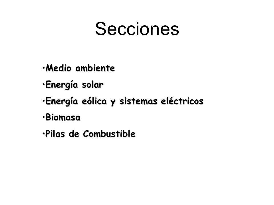 Medio ambienteMedio ambiente Energía solarEnergía solar Energía eólica y sistemas eléctricosEnergía eólica y sistemas eléctricos BiomasaBiomasa Pilas de CombustiblePilas de Combustible Secciones