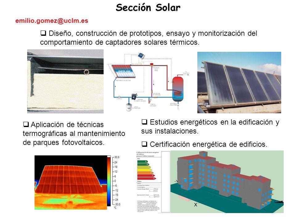 Diseño, construcción de prototipos, ensayo y monitorización del comportamiento de captadores solares térmicos.