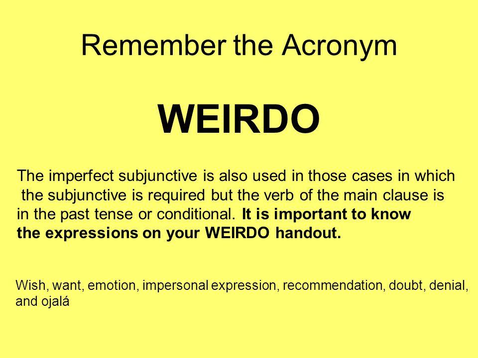 Past Subjunctive Endings Start with the preterit tense ellos, then drop the (-aron/-ieron) and add: ARER/IR Yo-ara-iera Tú-aras-ieras Él/Ella/Ud.-ara -iera Nosotros -áramos -iéramos Ellos/Ellas/Uds.