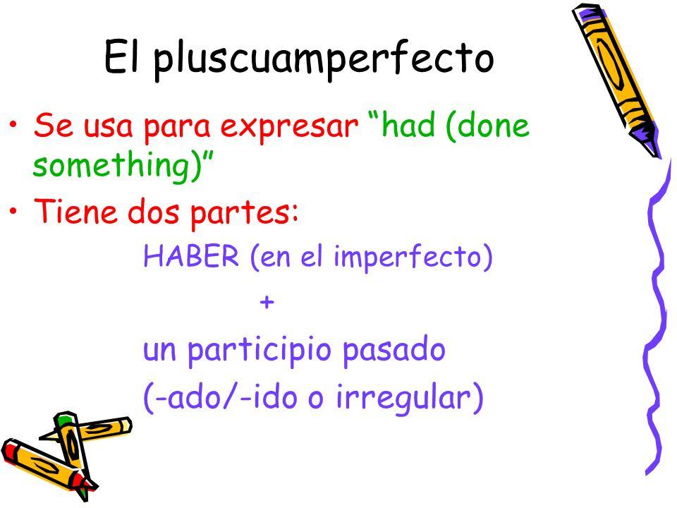 El pluscuamperfecto Se usa para expresar had (done something) Tiene dos partes: HABER (en el imperfecto) + un participio pasado (-ado/-ido o irregular