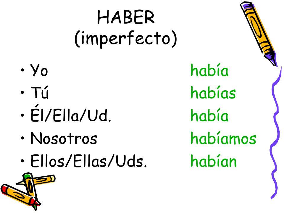 HABER (imperfecto) Yohabía Túhabías Él/Ella/Ud.había Nosotroshabíamos Ellos/Ellas/Uds.habían