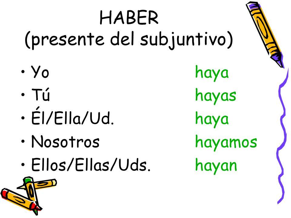 HABER (presente del subjuntivo) Yohaya Túhayas Él/Ella/Ud.haya Nosotroshayamos Ellos/Ellas/Uds.hayan