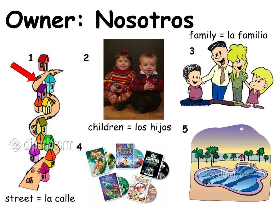 Owner: Nosotros 12 3 4 5 street = la calle family = la familia children = los hijos