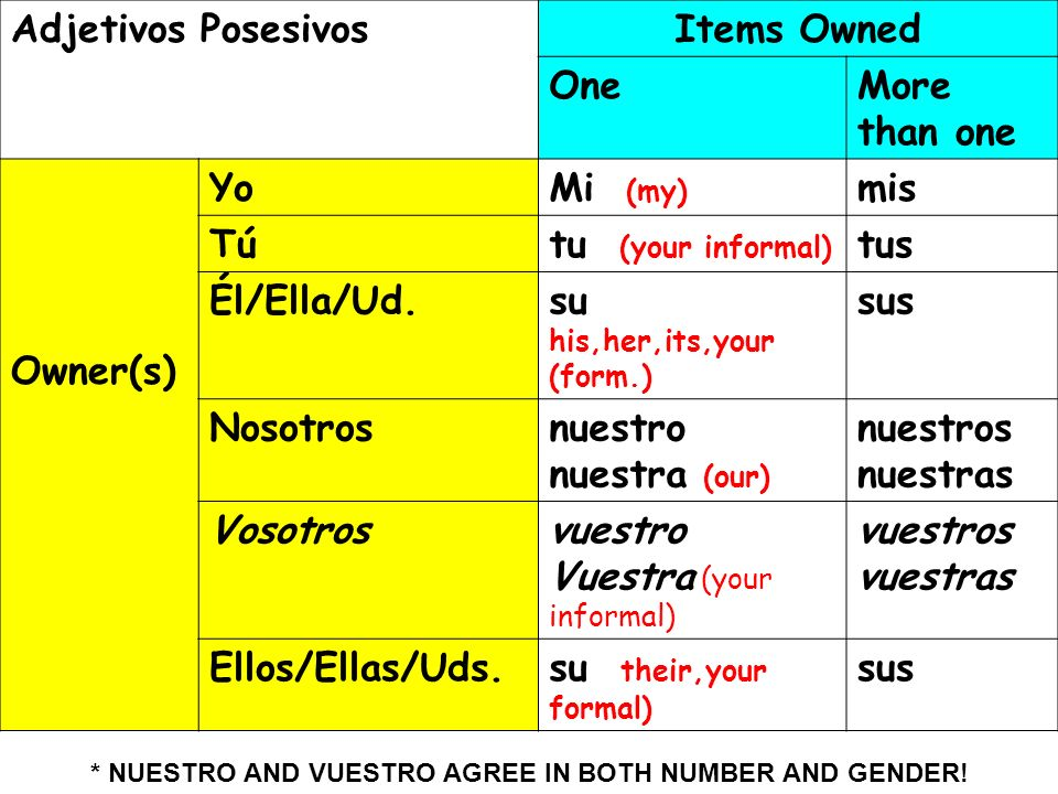 Las formas Adjetivos PosesivosItems Owned OneMore than one Owner(s) YoMi (my) mis Tútu (your informal) tus Él/Ella/Ud.su his,her,its,your (form.) sus
