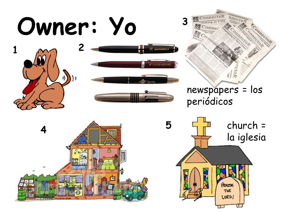 Owner: Yo 1 2 3 4 5 newspapers = los periódicos church = la iglesia