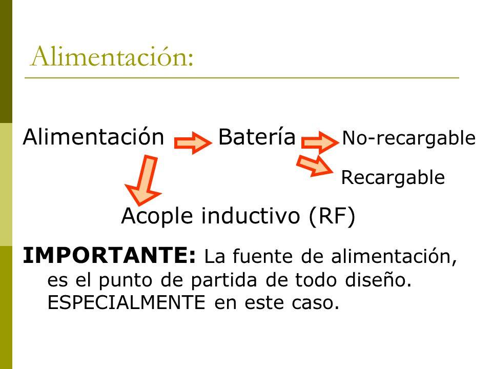 Alimentación: Alimentación Batería No-recargable Recargable Acople inductivo (RF) IMPORTANTE: La fuente de alimentación, es el punto de partida de tod