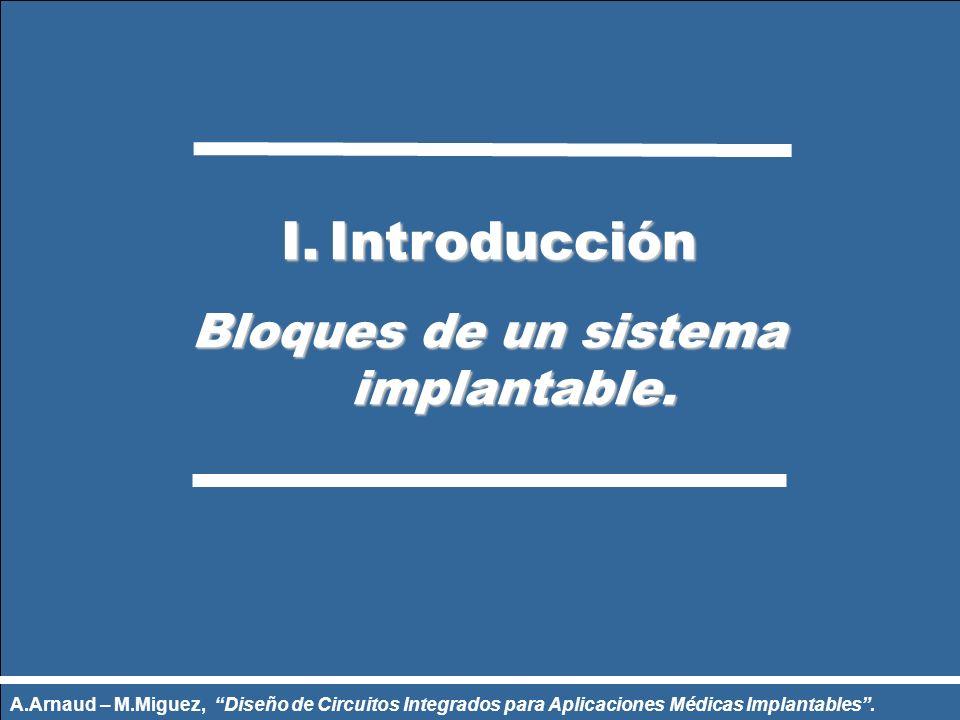 I.Introducción Bloques de un sistema implantable. Bloques de un sistema implantable. A.Arnaud – M.Miguez, Diseño de Circuitos Integrados para Aplicaci