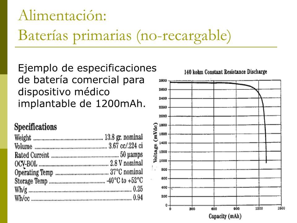 Alimentación: Baterías primarias (no-recargable) Ejemplo de especificaciones de batería comercial para dispositivo médico implantable de 1200mAh.