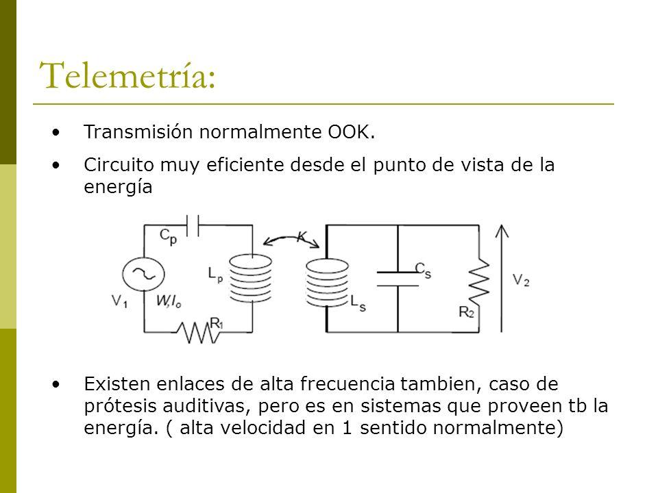 Telemetría: Transmisión normalmente OOK. Circuito muy eficiente desde el punto de vista de la energía Existen enlaces de alta frecuencia tambien, caso