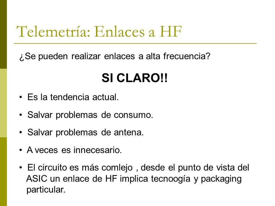 Telemetría: Enlaces a HF ¿Se pueden realizar enlaces a alta frecuencia? SI CLARO!! Es la tendencia actual. Salvar problemas de consumo. Salvar problem