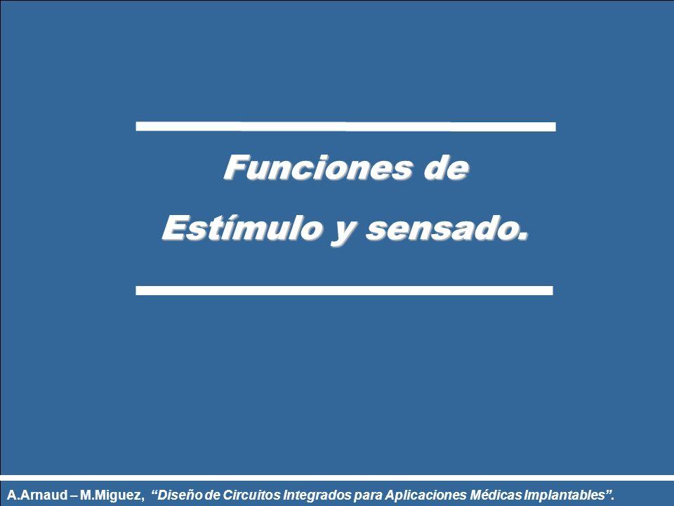 Funciones de Estímulo y sensado. Estímulo y sensado. A.Arnaud – M.Miguez, Diseño de Circuitos Integrados para Aplicaciones Médicas Implantables.