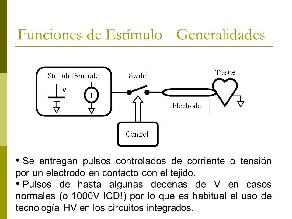 Funciones de Estímulo - Generalidades Se entregan pulsos controlados de corriente o tensión por un electrodo en contacto con el tejido. Pulsos de hast