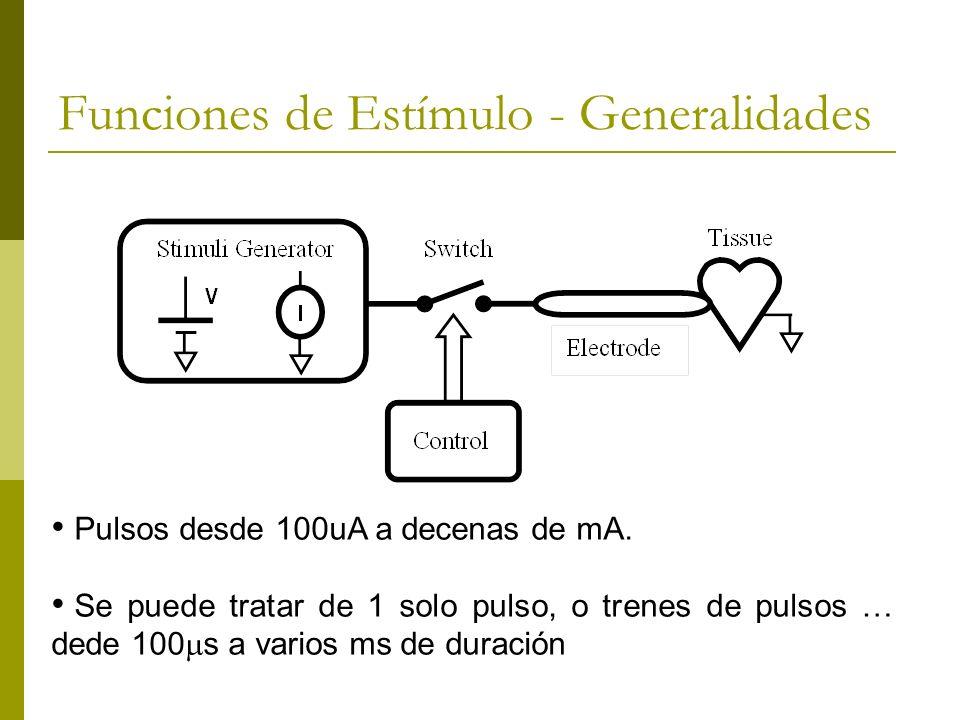Funciones de Estímulo - Generalidades Pulsos desde 100uA a decenas de mA. Se puede tratar de 1 solo pulso, o trenes de pulsos … dede 100 s a varios ms