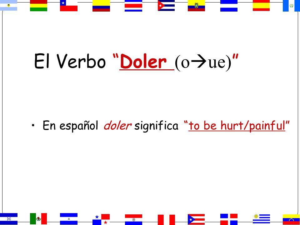 El Verbo Doler (o ue) En español doler significa to be hurt/painful