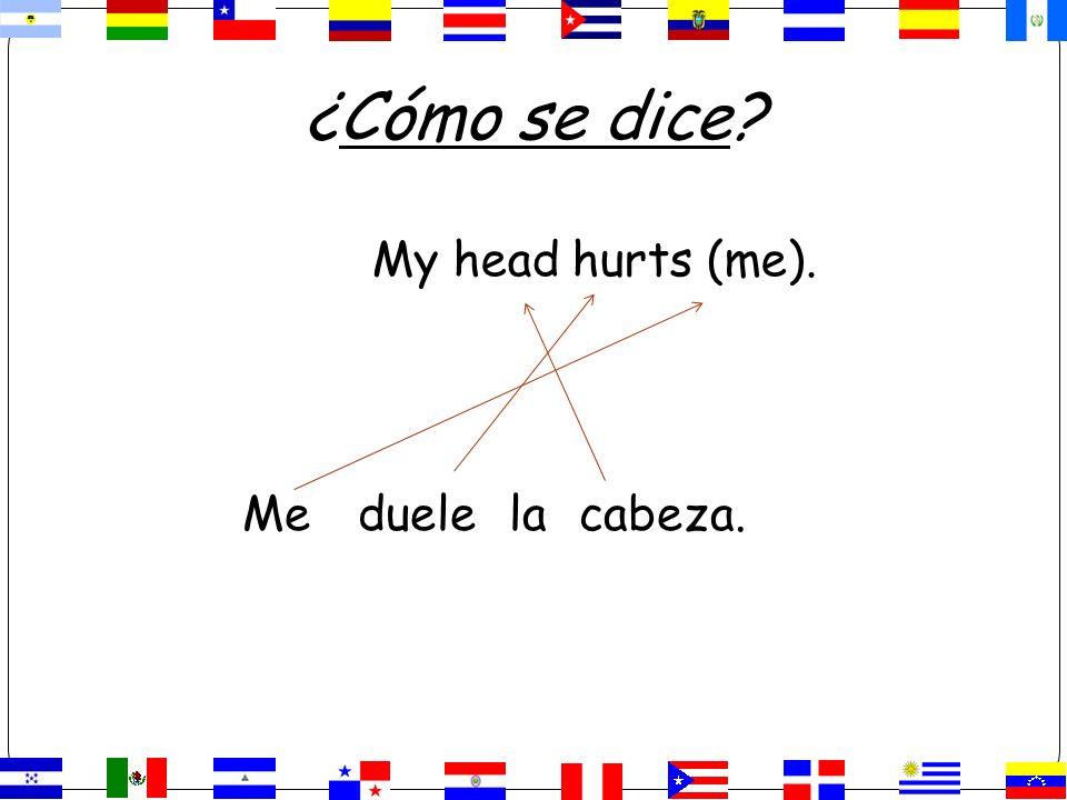 ¿Cómo se dice? My head hurts (me). Meduelelacabeza.