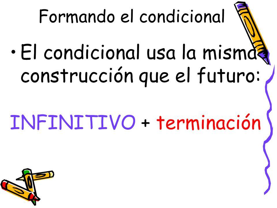 Formando el condicional El condicional usa la misma construcción que el futuro: INFINITIVO + terminación