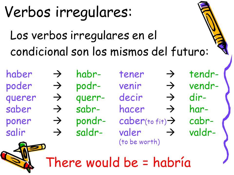 Verbos irregulares: Los verbos irregulares en el condicional son los mismos del futuro: haber habr- poder podr- querer querr- saber sabr- poner pondr-