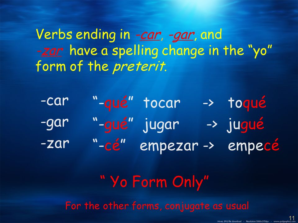 10 -AR and -ER verbs that have a stem-change in the present tense dont change in the preterit.