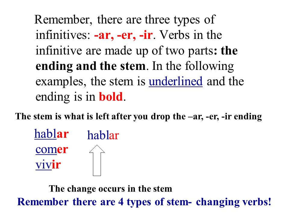 You already know a couple of stem- changing verbs: Tener and venir The verbs tener and venir are what might be called partial stem-changing verbs; the yo forms do not have the stem change, but they do have an irregularity.