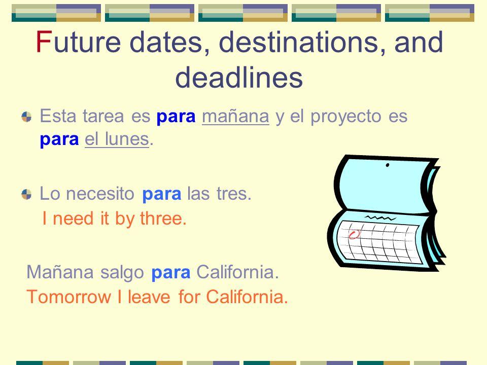 Future dates, destinations, and deadlines Esta tarea es para mañana y el proyecto es para el lunes.