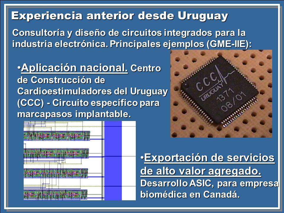 Experiencia anterior desde Uruguay Consultoría y diseño de circuitos integrados para la industria electrónica. Principales ejemplos (GME-IIE): Aplicac