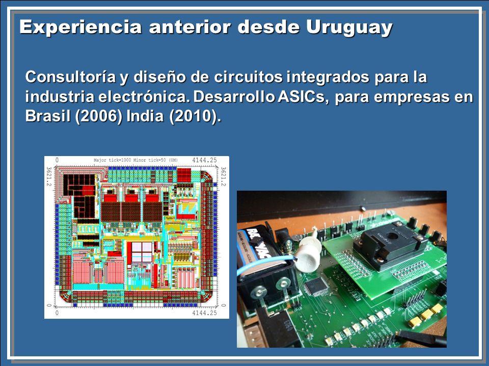 Experiencia anterior desde Uruguay Consultoría y diseño de circuitos integrados para la industria electrónica. Desarrollo ASICs, para empresas en Bras