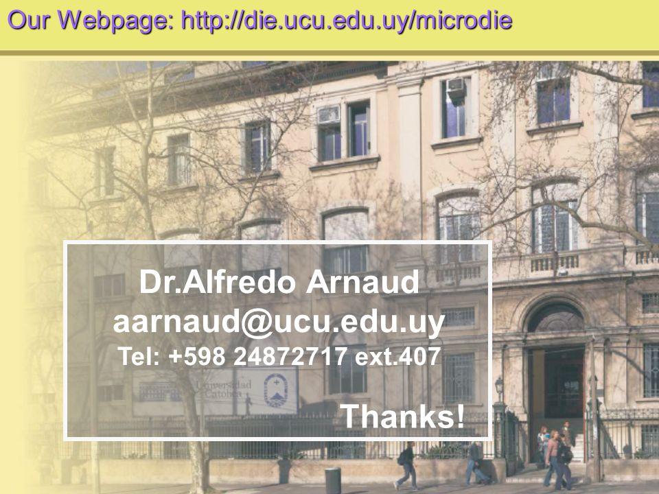 Thanks! Dr.Alfredo Arnaud aarnaud@ucu.edu.uy Tel: +598 24872717 ext.407 Our Webpage: http://die.ucu.edu.uy/microdie