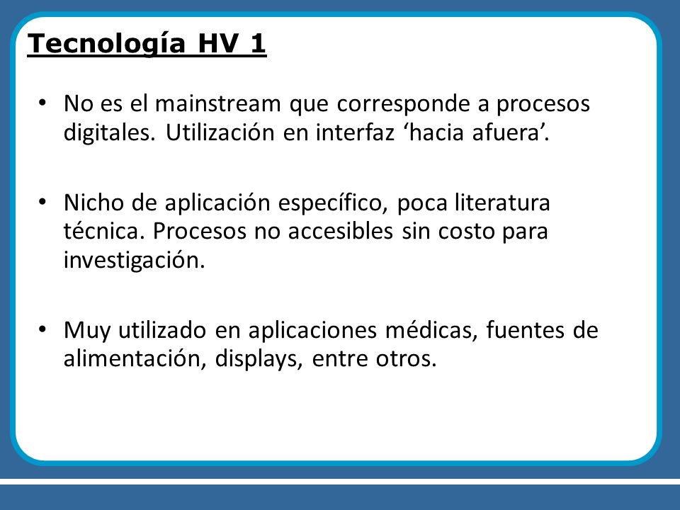 Tecnología HV 1 No es el mainstream que corresponde a procesos digitales. Utilización en interfaz hacia afuera. Nicho de aplicación específico, poca l