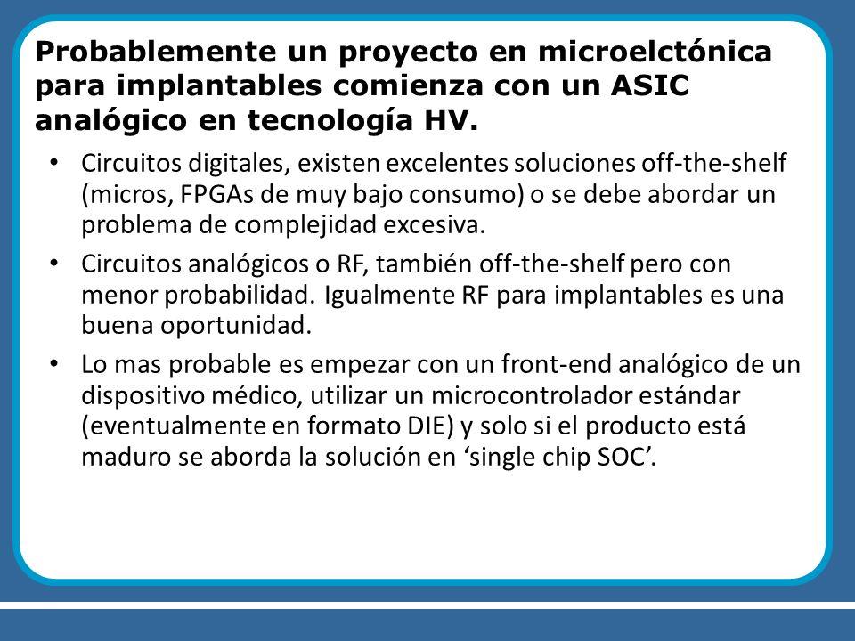 Probablemente un proyecto en microelctónica para implantables comienza con un ASIC analógico en tecnología HV. Circuitos digitales, existen excelentes