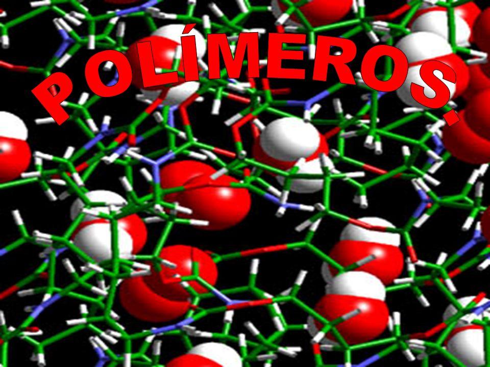 Polímeros: son materiales formados por grandes moléculas que resultan de la unión repetitiva de unidades denominadas monómeros.