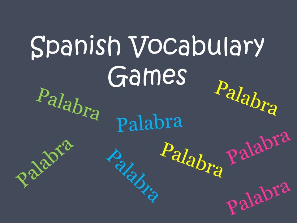 Spanish Vocabulary Games Palabra