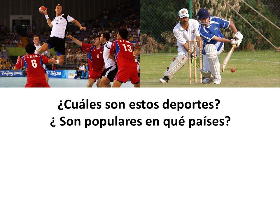 1.El fútbol 2. El críquet 3. El rugby 4. El golf 5.