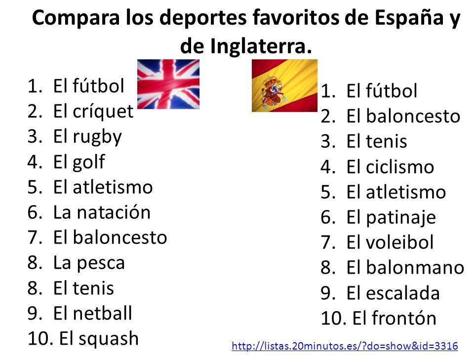 1. El fútbol 2. El críquet 3. El rugby 4. El golf 5. El atletismo 6. La natación 7. El baloncesto 8. La pesca 8. El tenis 9. El netball 10. El squash