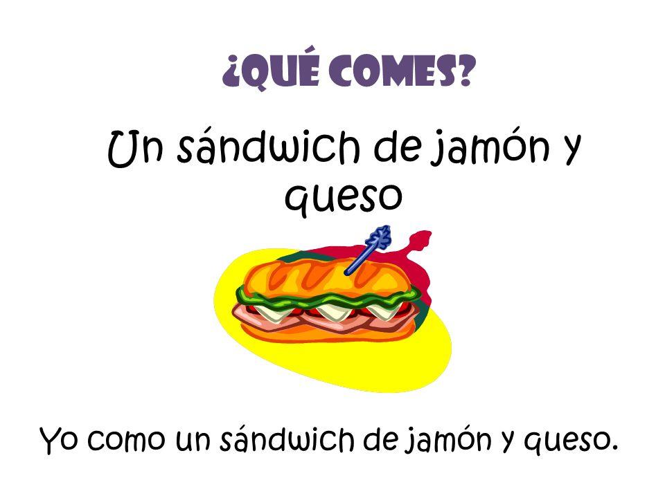 Un sándwich de jamón y queso ¿Qué Comes? Yo como un sándwich de jamón y queso.