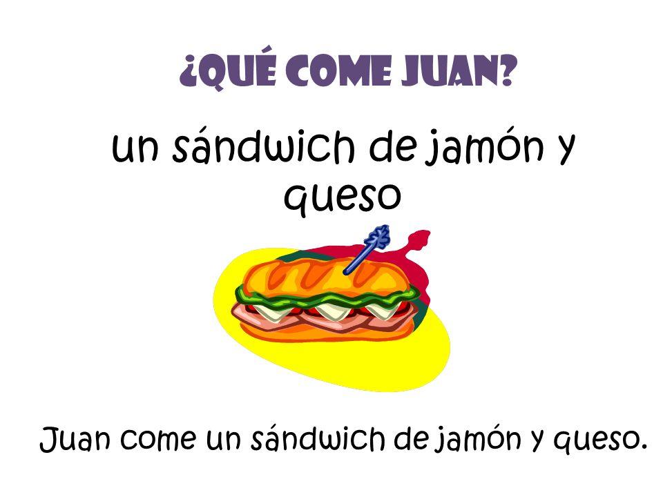 un sándwich de jamón y queso ¿Qué Come Juan? Juan come un sándwich de jamón y queso.