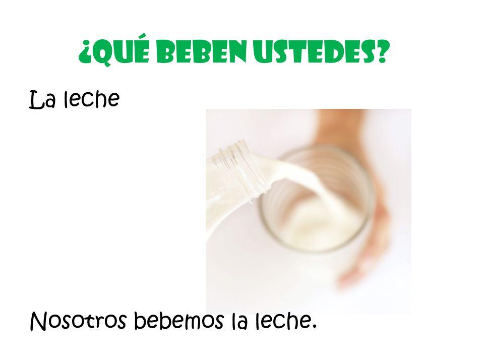 La leche ¿Qué Beben ustedes Nosotros bebemos la leche.