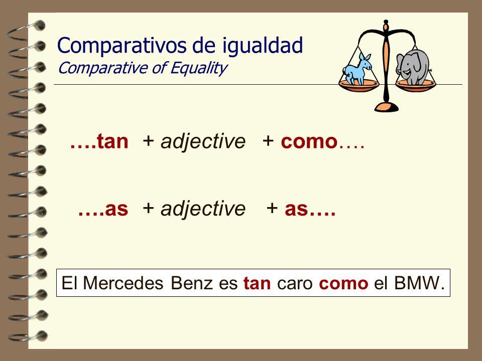 Comparativos de igualdad Comparative of Equality ….tan+ adjective+ como….