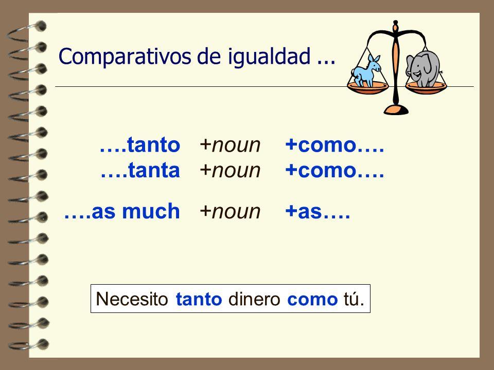 Comparativos de igualdad...….tanto+noun+como…. ….as much+noun+as….