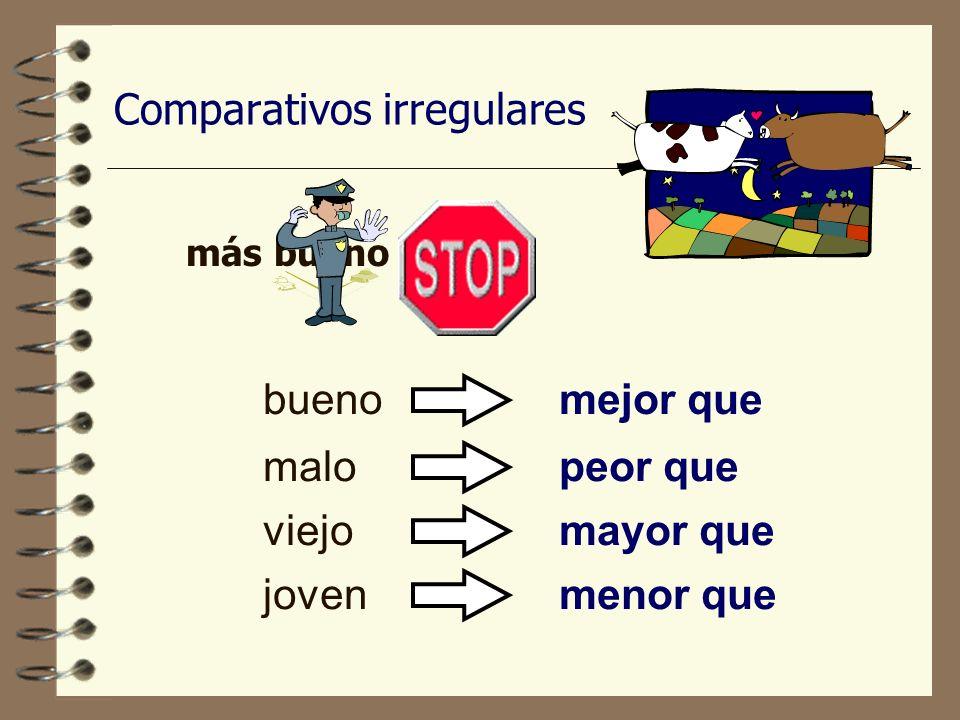Comparativos de superioridad ….más+ adjective ….more+ adjective Mi hermana es más inteligente que mi hermano. + que