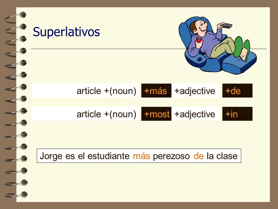 Superlativos Jorge es el estudiante más perezoso de la clase article +(noun) +más +most +adjective+de +adjective+in